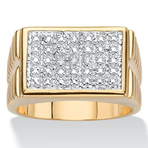 Men's 18K Yellow Gold Genuine Diamond Accent Watchband Style Ring