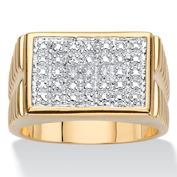 Men's 18K Yellow Gold Genuine Diamond Accent Watchband Style Ring