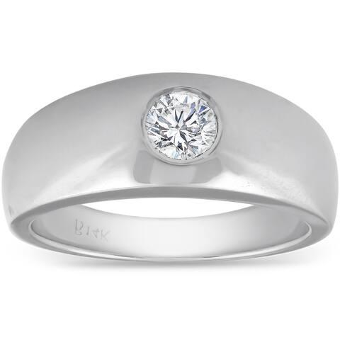 Pompeii3 14k White Gold 1/2 Ct TDW Round Solitaire Diamond Mens Heavy Weight Wedding Ring