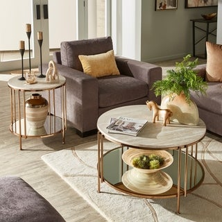 Celsus Champagne Gold Finish Cocktail Table or Table Set with Faux Marble Top and Mirror Bottom by iNSPIRE Q Bold