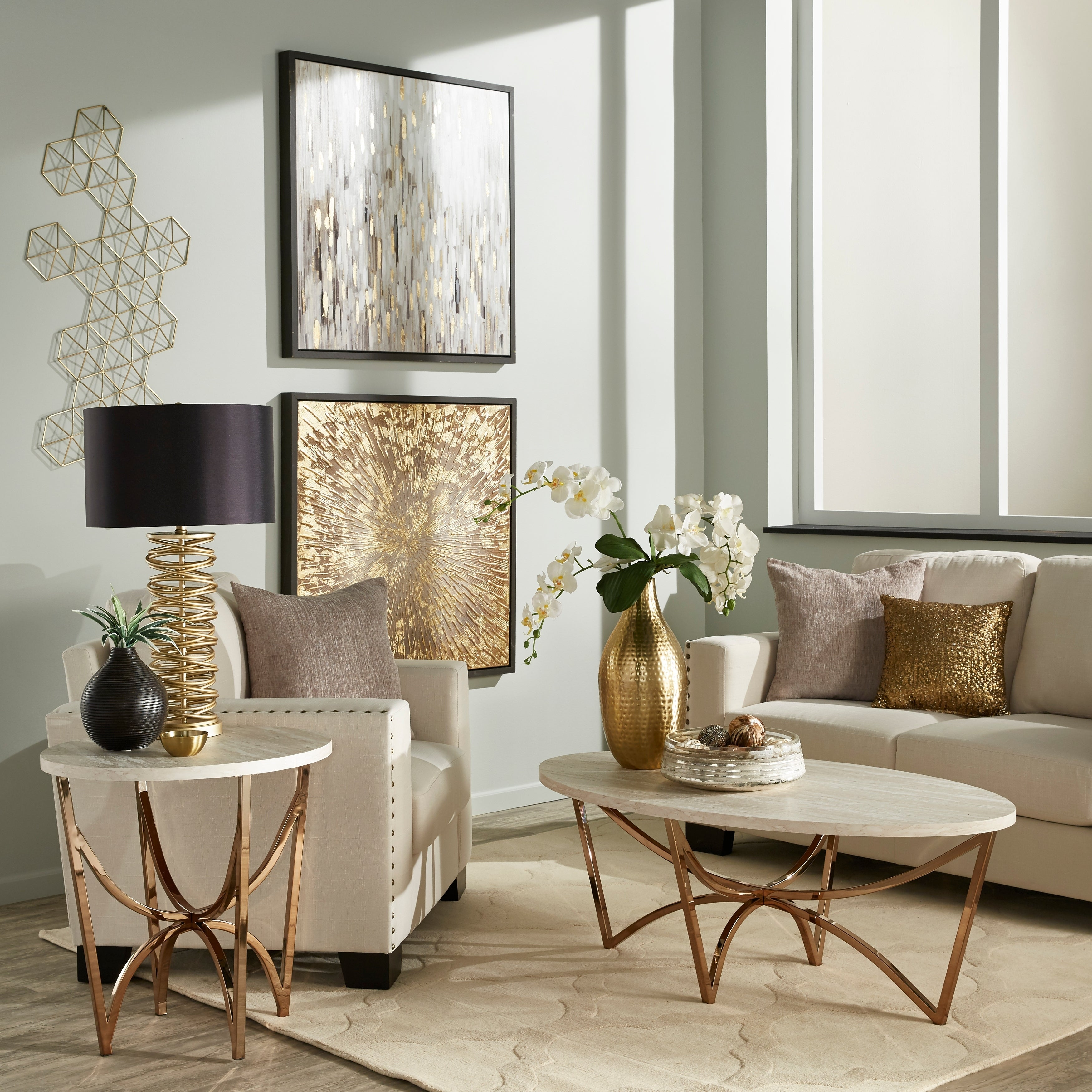 Vittoria Champagne Gold Finish Tail Table Or Set With White Faux Marble Top By Inspire Q Bold