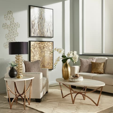 Vittoria Champagne Gold Table Set with White Faux Marble Top by iNSPIRE Q Bold
