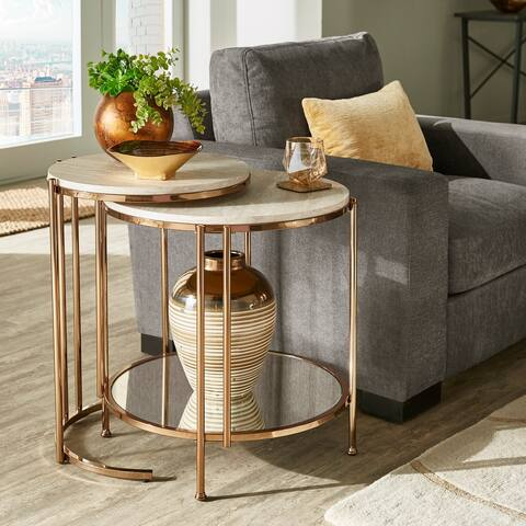 Celsus Champagne Gold Finish Table or Nesting Table Set with Faux Marble Top and Mirrored Bottom by iNSPIRE Q Bold