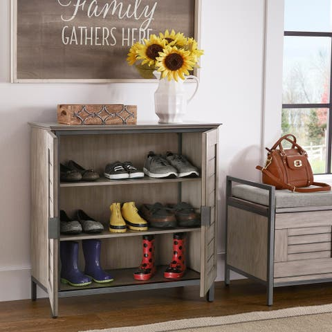 The Gray Barn Fauna Hill Grey Finish Shoe Storage Cabinet