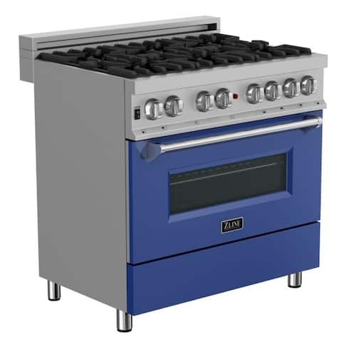 36 in. Dual Fuel Range in Snow Stainless with Blue Matte Door