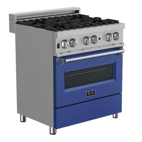 30 in. Dual Fuel Range in Snow Stainless with Blue Matte Door