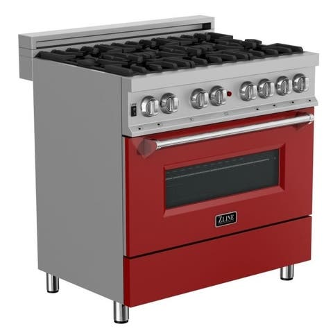 36 in.Dual Fuel Range in Snow Stainless with Red Matte Door
