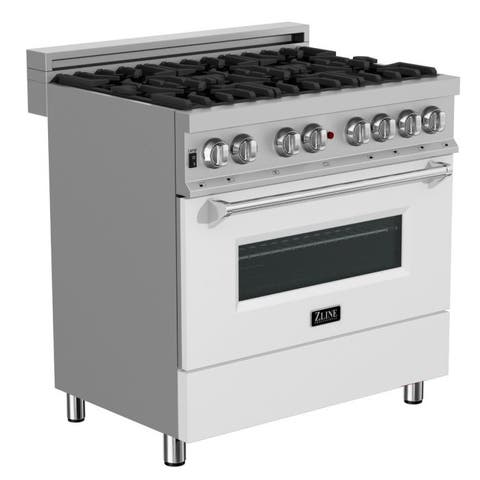 36 in. Dual Fuel Range in Snow Stainless with White Matte Door
