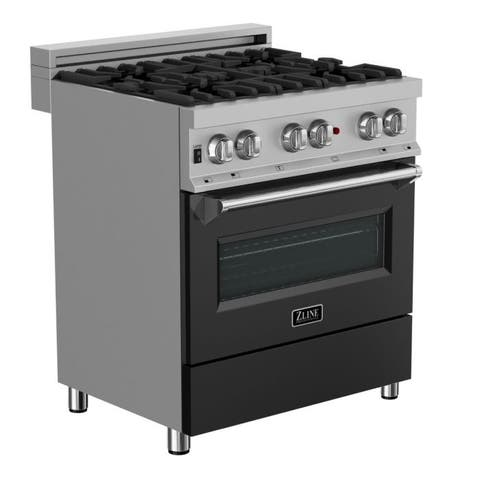 30 in. Dual Fuel Range in Snow Stainless with Black Matte Door