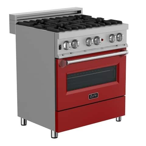30 in. Dual Fuel Range in Snow Stainless with Red Matte Door