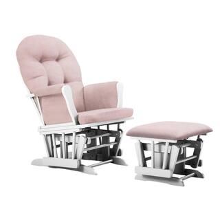 Bentley Glider and Ottoman- White/Pink