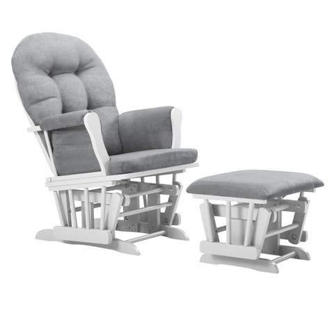 Bentley Glider and Ottoman- White/Light Gray