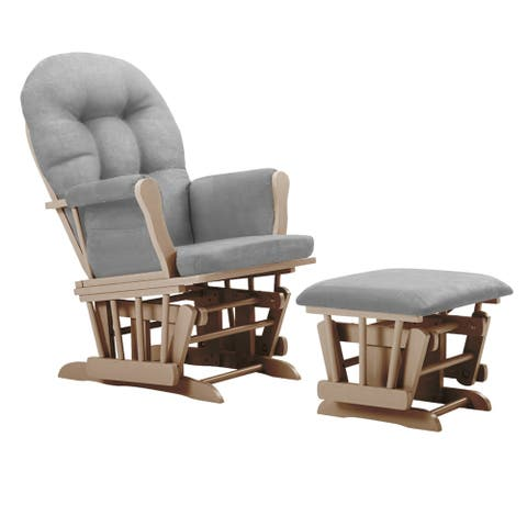 Bentley Glider and Ottoman- Natural/Light gray