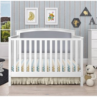Taylor & Olive Mariposa White/ Grey Linen Upholstered Convertible Crib