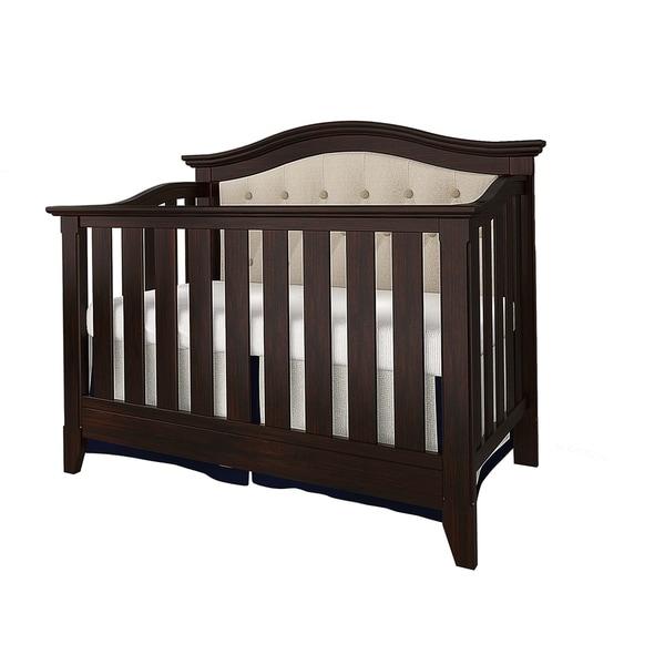 Magnolia Upholstered Convertible Crib- Espresso/Beige Linen
