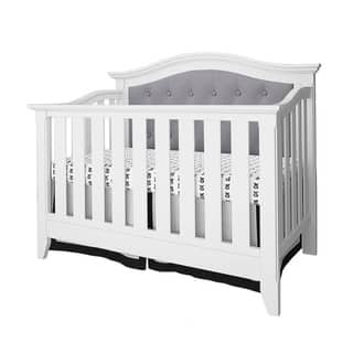 Magnolia Upholstered Convertible Crib- White/Gray Linen