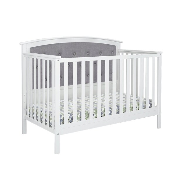 Bentley Tufted Upholstered Convertible Crib- White/Gray Linen