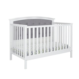 Shop Magnolia Upholstered Convertible Crib White Gray
