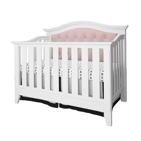 Magnolia Upholstered Convertible Crib- White/Pink Linen