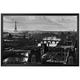FRAMED Vintage Paris Bridges Skyline 36x24  Photograph Art Print Poster - 36 x 24