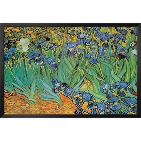 FRAMED Irises by Vincent Van Gogh 36x24 Museum Art Painting Print - 36 x 24