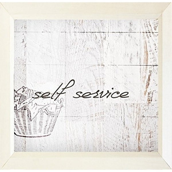 FRAMED Self Service by Dallas Drotz 18x18 Art Print Poster Typography Laundry Terms Wood Design White Paint - 18 x 18