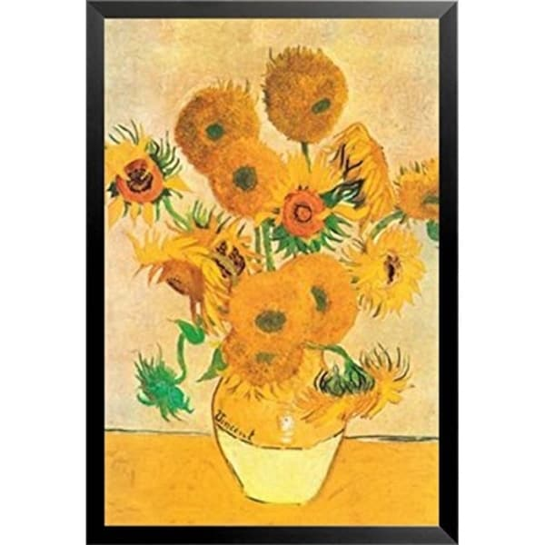 FRAMED Vase with Yellow Sunflowers By Vincent Van Gogh 36x24 Museum Art Painting Print Poster - 36 x 24