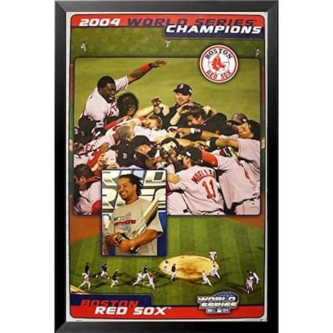 FRAMED EXCLUSIVE 2004 Boston Red Sox World Series Champs 34x22 Art Print Poster Manny Ortiz Pedro Champions Championship