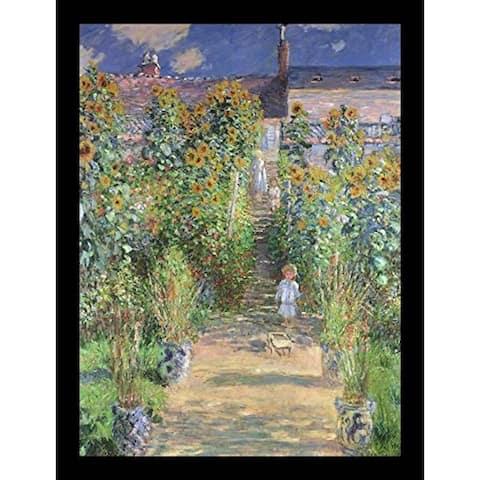 FRAMED Monet's Garden at Vetheuil by Claude Monet 24x18 Museum Art Print Poster - 24 x 18