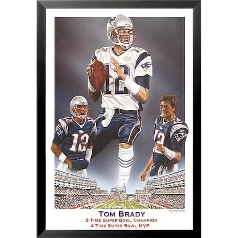 FRAMED Tom Brady 5 Time Super Bowl Champion 4 Time Super Bowl MVP 36x24 Sports Art Print Poster - 36 x 24