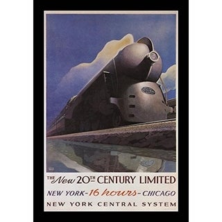 FRAMED The New 20th Century New York 16 Hours Chicago Advertisement 18x12 Art Poster Print - 18 x 12