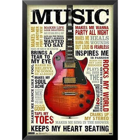FRAMED Music Inspires Me Guitar Motivational 34x22.5 Art Print Poster Songs and Phrases - 34 x 22