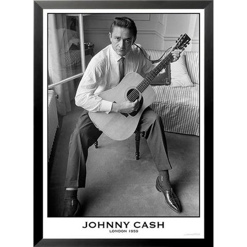 FRAMED Johnny Cash White Shirt and Guitar - London 1959 33.25x23.5 Music Art Print Poster - 33 x 23