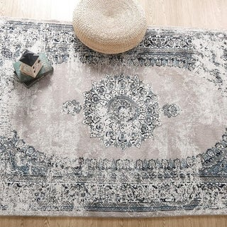 Distressed Medallion Indoor Abstract Area Rug - 5' x 7'
