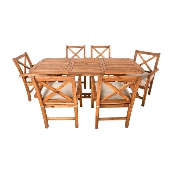7 Piece X Back Acacia Patio Dining Set with Cushion
