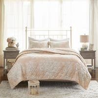 Madison Park Gladys Blush Cotton Printed Reversible Quilted Coverlet Set