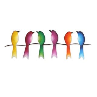 Steel Wall Sculpture of Six Colorful Birds Singing Sextet
