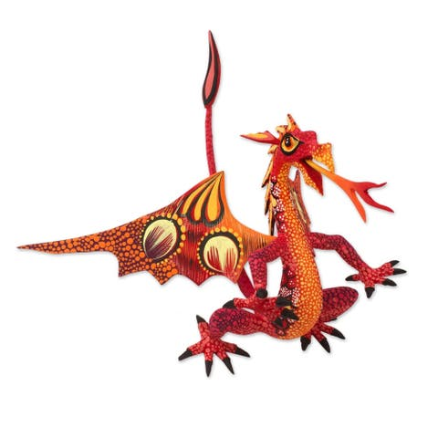 Handmade Copal Wood Dragon Alebrije Sculpture in Red and Orange (Mexico)