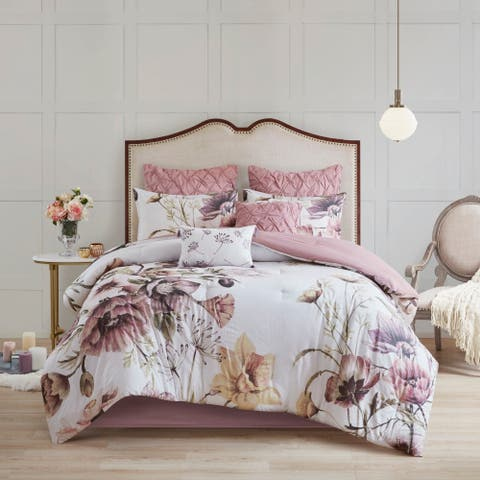 Madison Park Gisele Blush 8 Piece Cotton Printed Comforter Set