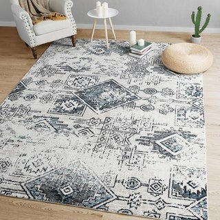 Indoor Distressed Area Rug Geometric Living Room Rugs -  5' x 7'