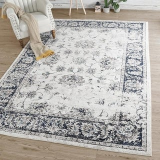 Distressed Floral Area Rug for Living Room ,Bedroom- 8' x 10' - 8' x 10'