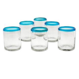 Handmade Blown glass juice glasses Aquamarine Kiss set of 6 (Mexico) - N/A