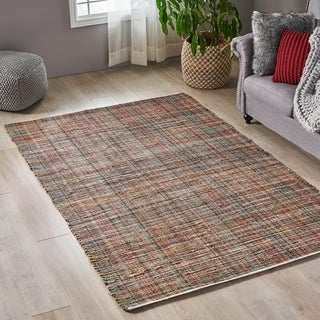 Christopher Knight Home Ganya Boho Leather/ Hemp Area Rug - 5'1 x 8'