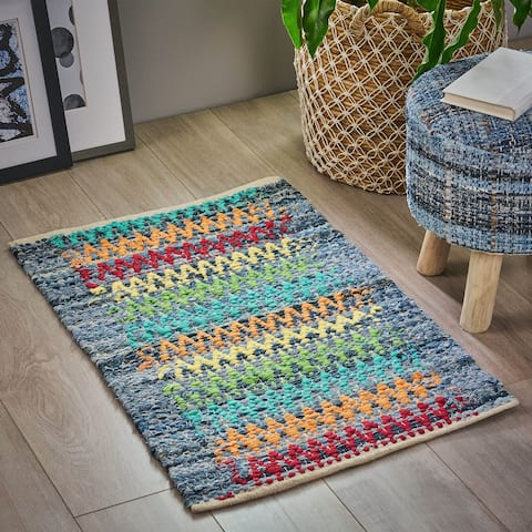 Fila Boho Denim and Cotton Scatter Rug by Christopher Knight Home