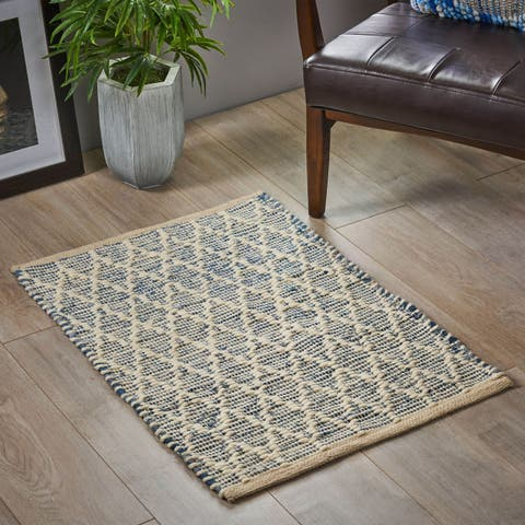 Grumman Boho Denim and Wool Scatter Rug by Christopher Knight Home