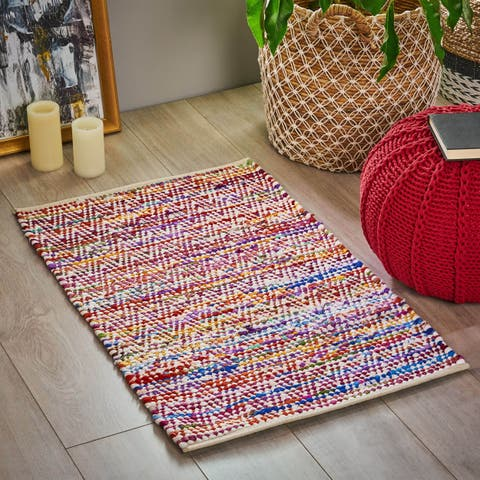 Glade Boho Cotton and Fleece Scatter Rug by Christopher Knight Home