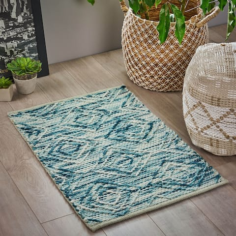 Langrick Boho Wool and Cotton Scatter Rug by Christopher Knight Home