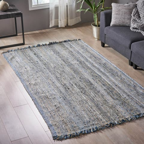 Janewood Transitional Hemp and Denim Area Rug by Christopher Knight Home - 5' x 8'