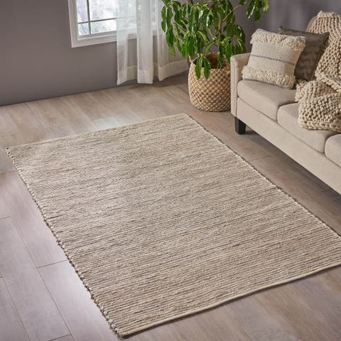 Jayes Transitional Hemp Area Rug with Fabric Accents by Christopher Knight Home