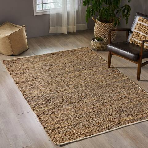 Gisler Boho Hemp and Leather Area Rug by Christopher Knight Home - 5' x 8'